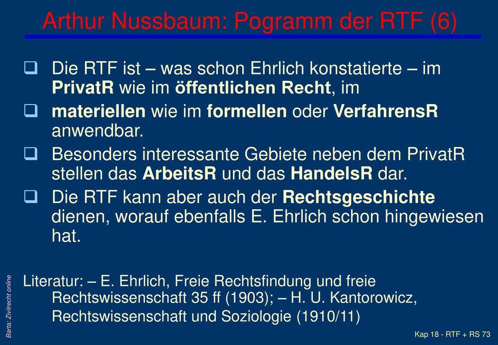 Arthur Nussbaum: Pogramm der RTF (6)
