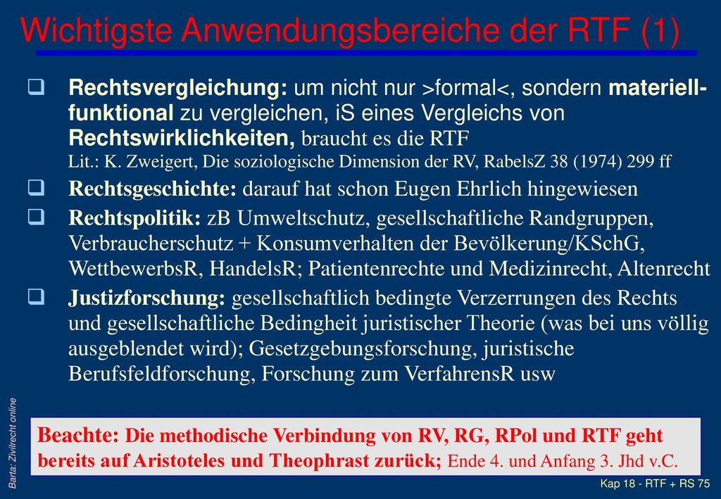 Wichtigste Anwendungsbereiche der RTF (1)