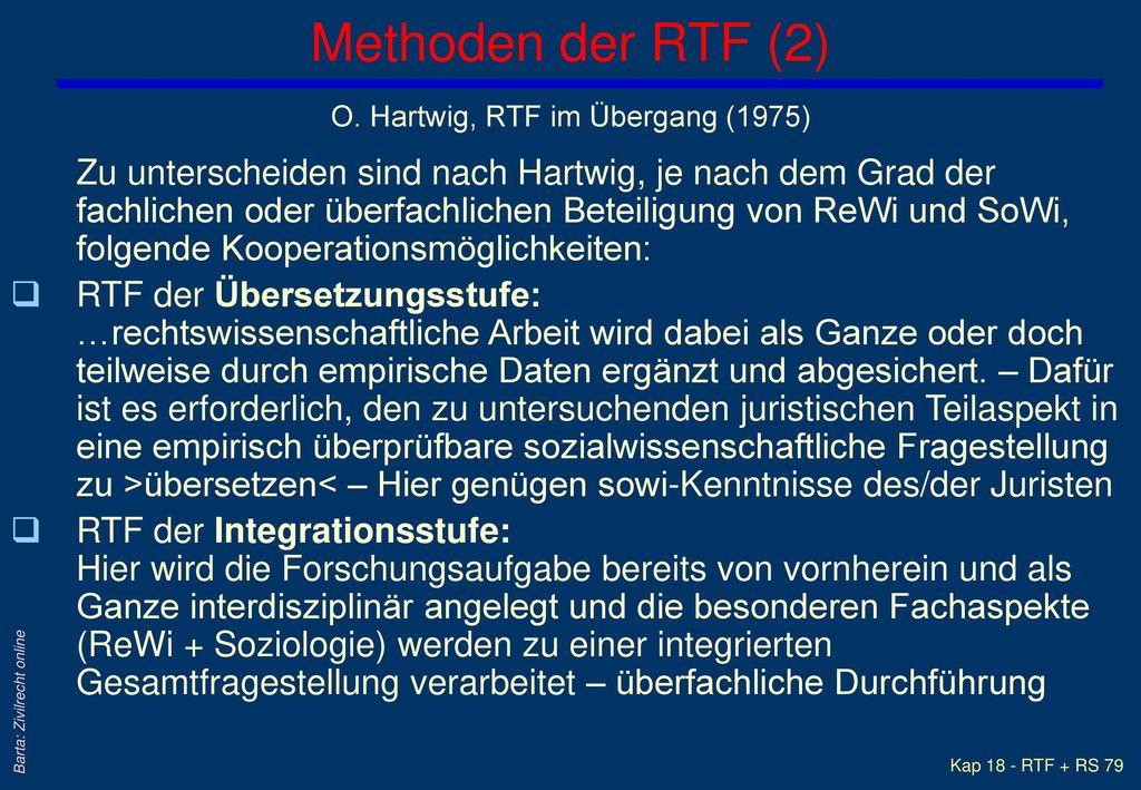 Methoden der RTF (2) O. Hartwig, RTF im Übergang (1975)