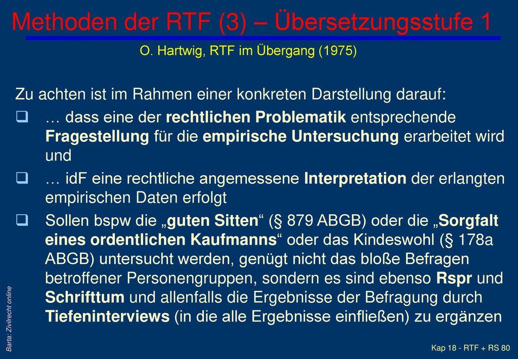 Methoden der RTF (3) – Übersetzungsstufe 1