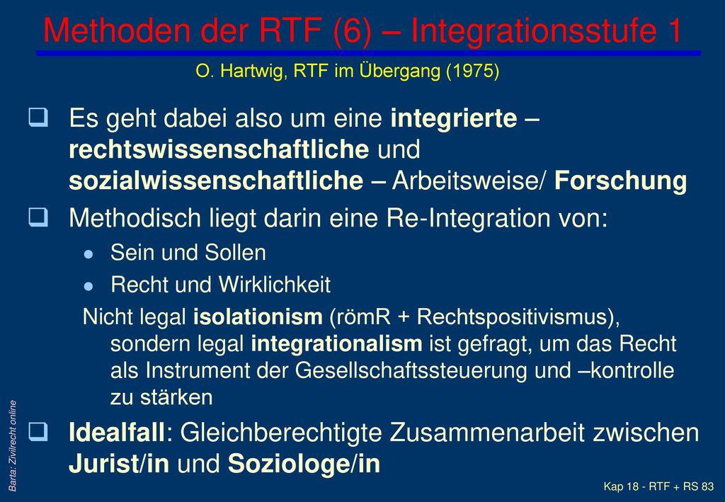 Methoden der RTF (6) – Integrationsstufe 1