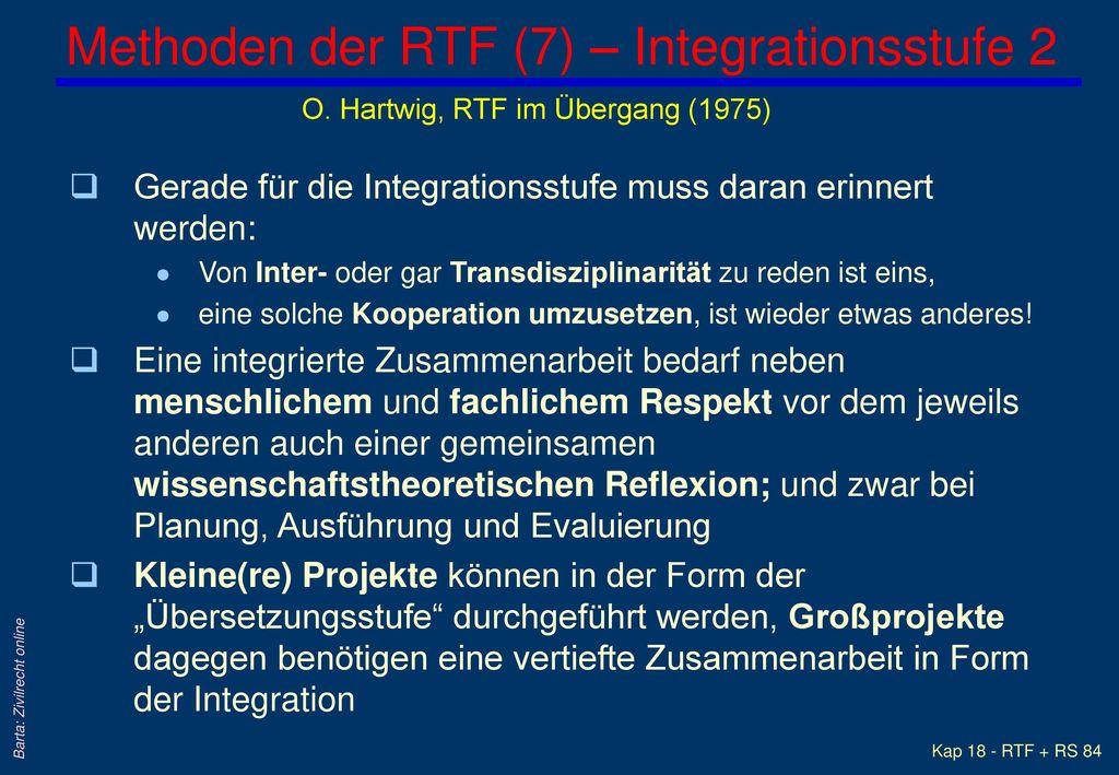Methoden der RTF (7) – Integrationsstufe 2