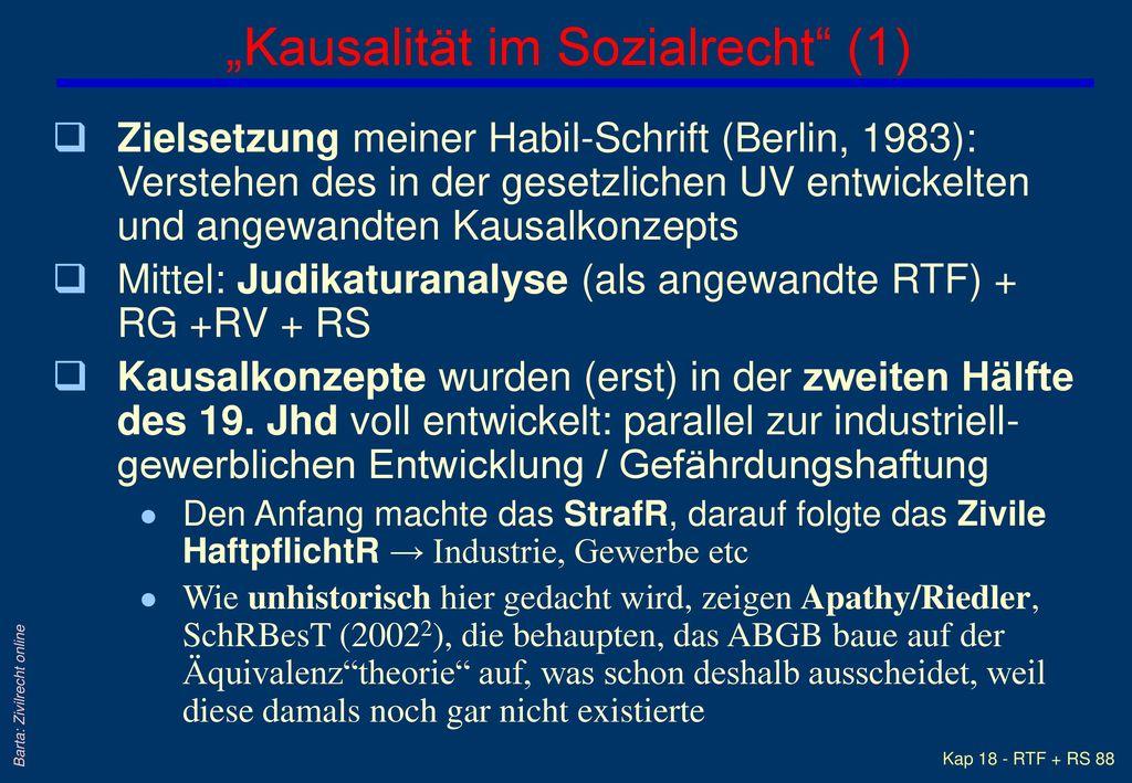 """""""Kausalität im Sozialrecht (1)"""
