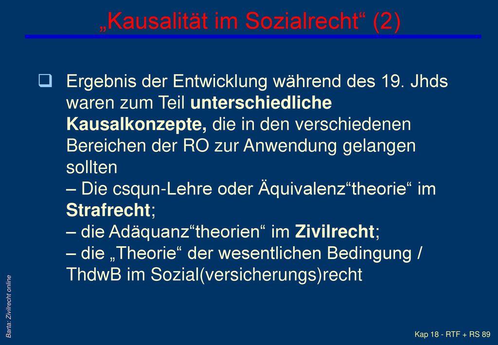 """""""Kausalität im Sozialrecht (2)"""
