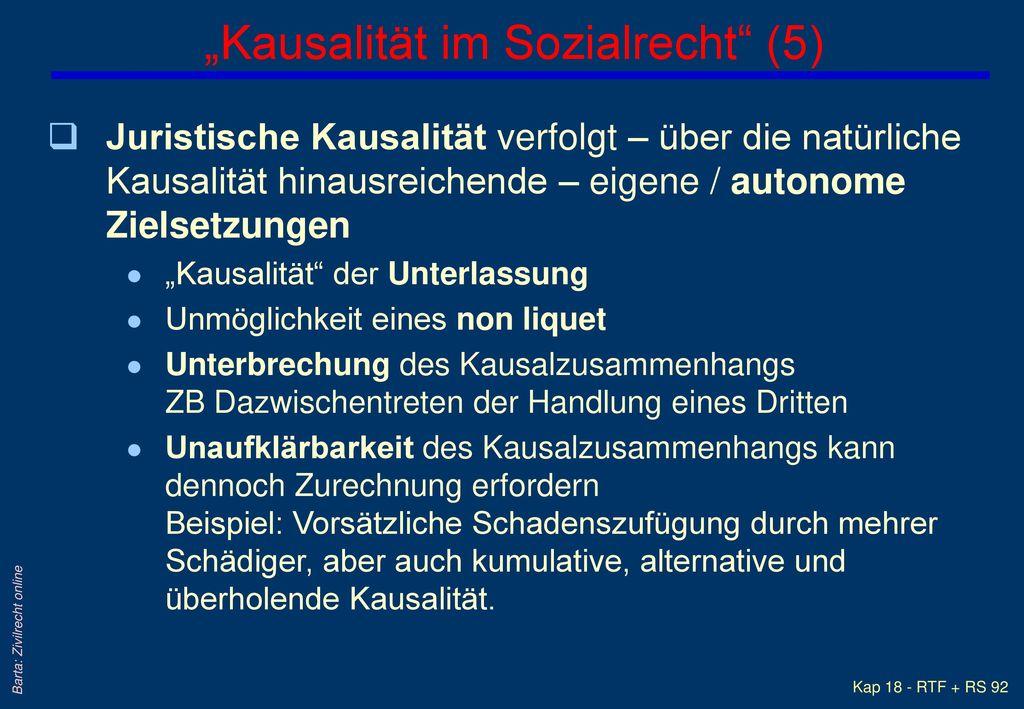 """""""Kausalität im Sozialrecht (5)"""