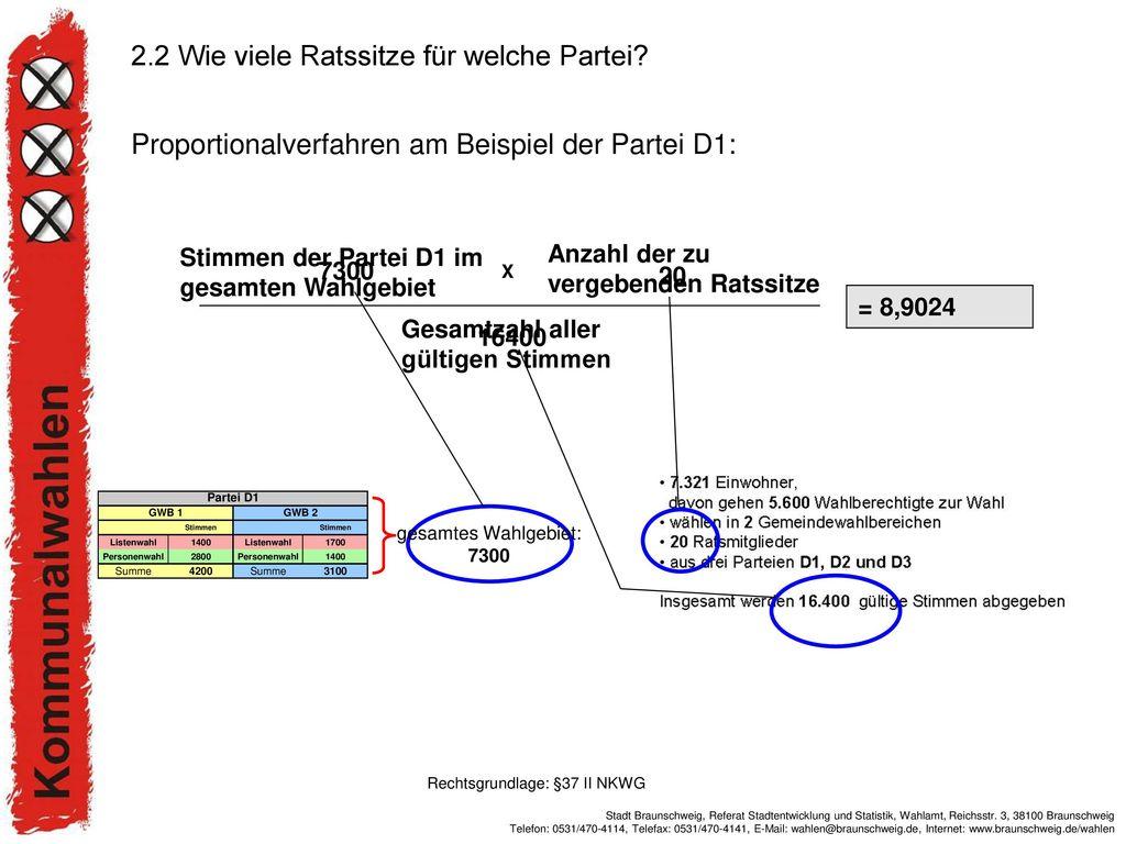 Proportionalverfahren am Beispiel der Partei D1: