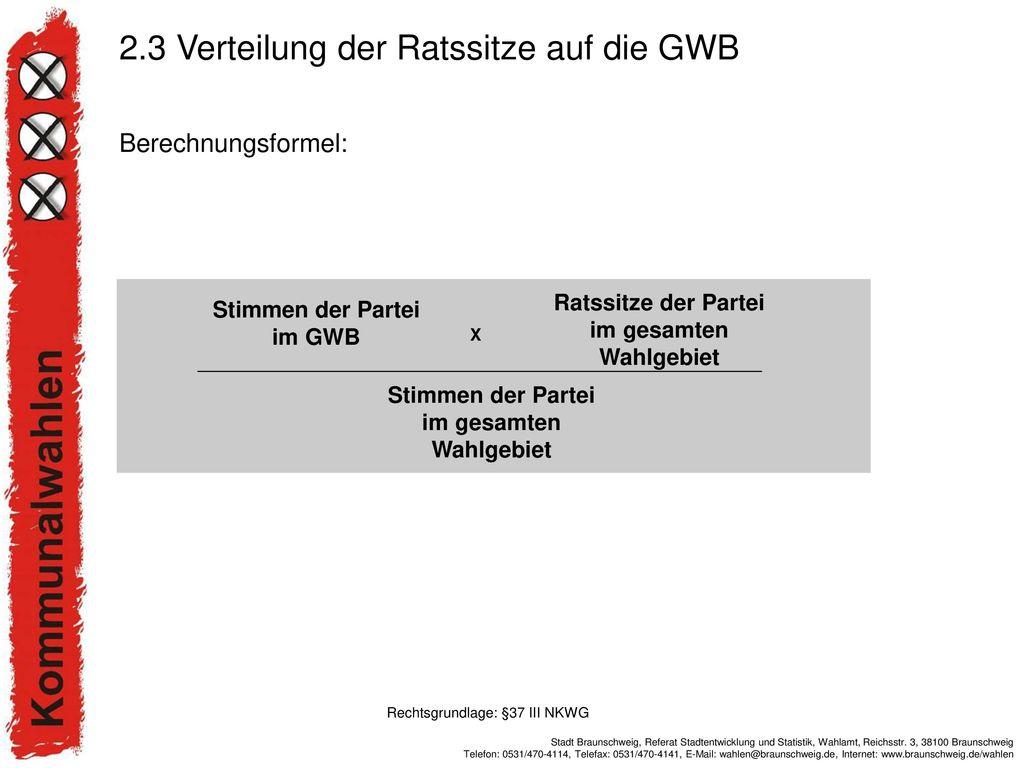 2.3 Verteilung der Ratssitze auf die GWB