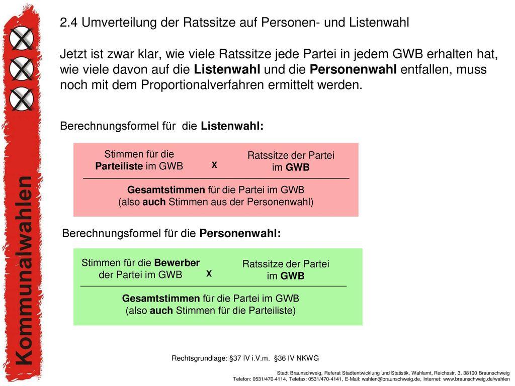 2.4 Umverteilung der Ratssitze auf Personen- und Listenwahl