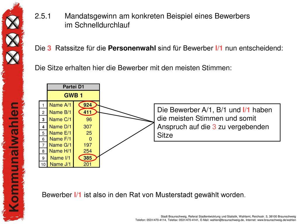 2.5.1 Mandatsgewinn am konkreten Beispiel eines Bewerbers