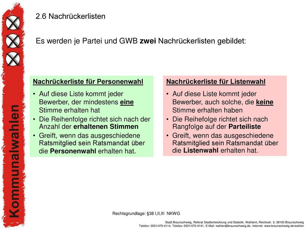 Es werden je Partei und GWB zwei Nachrückerlisten gebildet:
