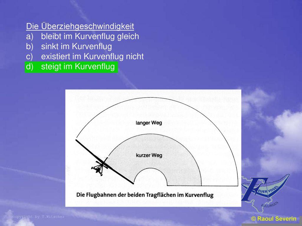 Die Überziehgeschwindigkeit bleibt im Kurvenflug gleich
