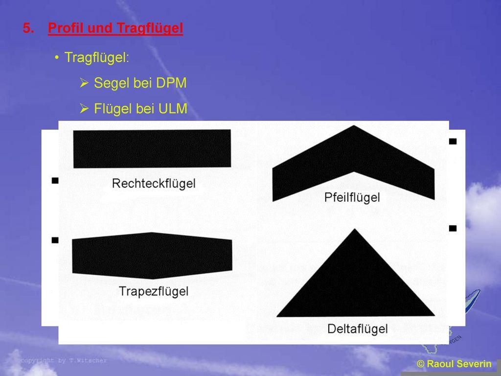 Profil und Tragflügel Tragflügel: Segel bei DPM Flügel bei ULM