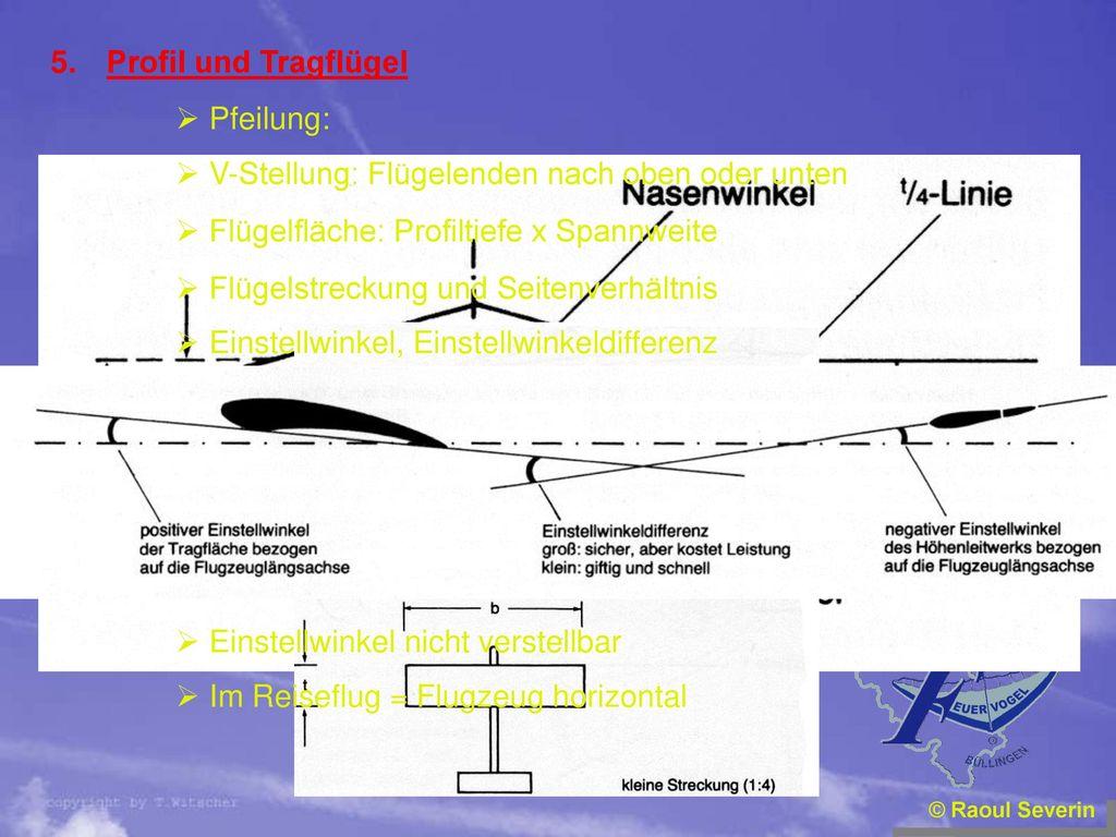 V-Stellung: Flügelenden nach oben oder unten