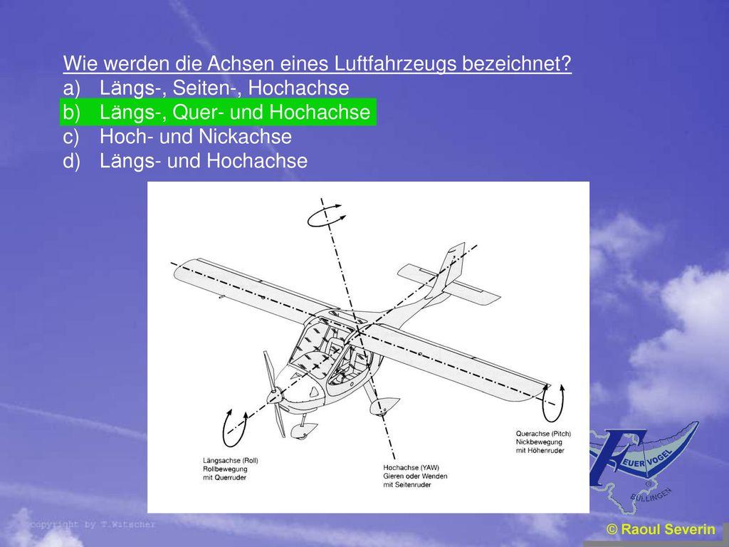 Wie werden die Achsen eines Luftfahrzeugs bezeichnet