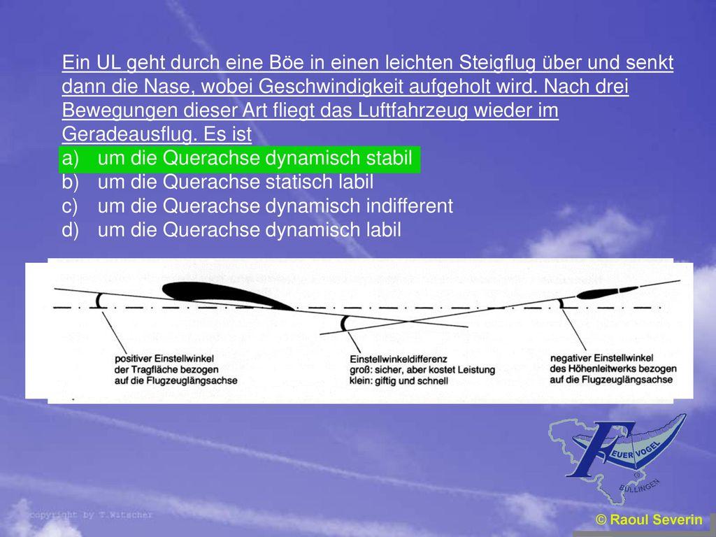 Ein UL geht durch eine Böe in einen leichten Steigflug über und senkt
