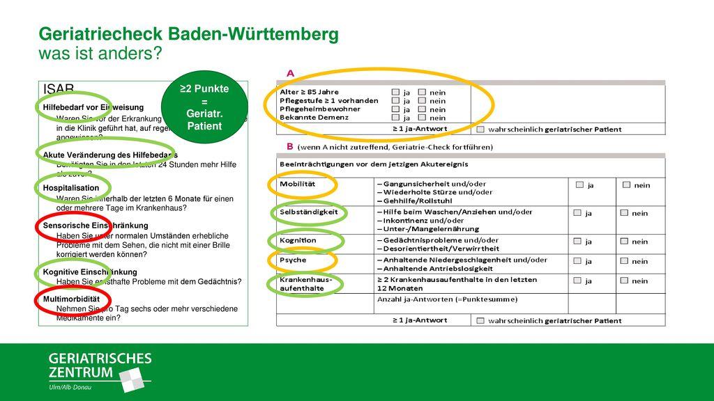 Geriatriecheck Baden-Württemberg was ist anders