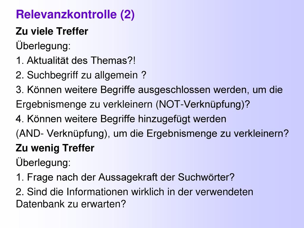 Relevanzkontrolle (2)