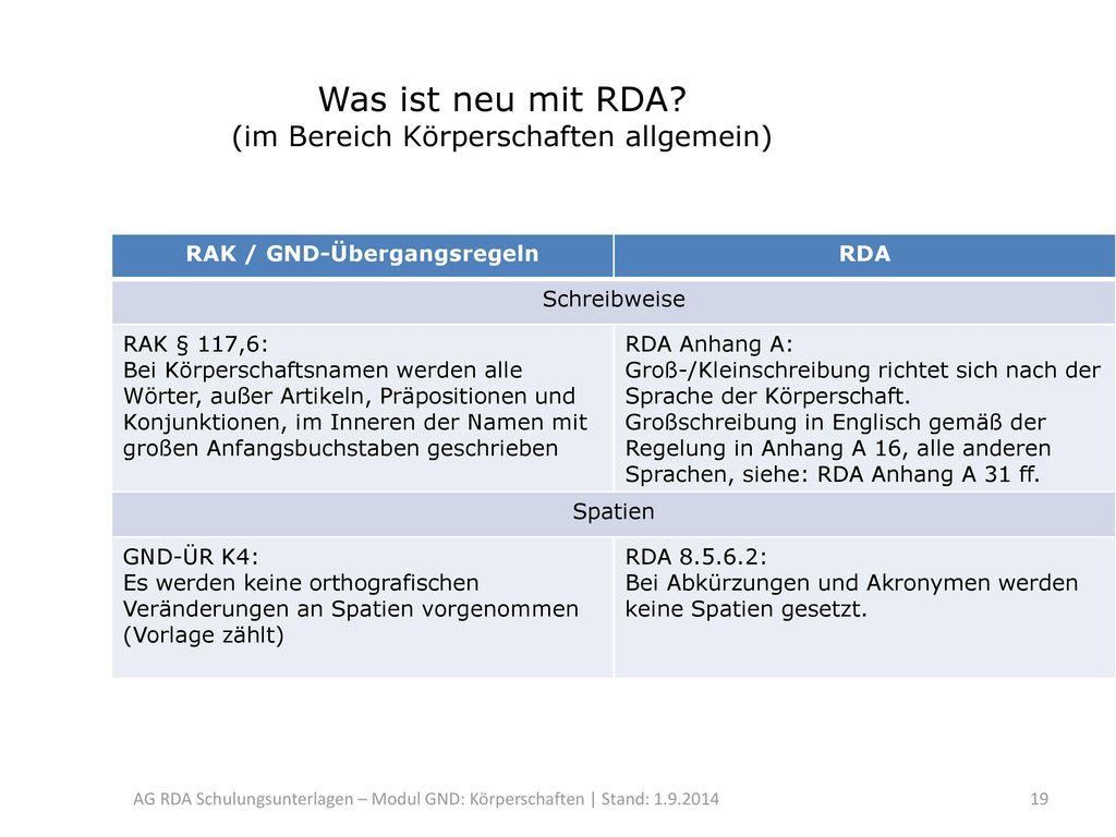 Was ist neu mit RDA (im Bereich Körperschaften allgemein)