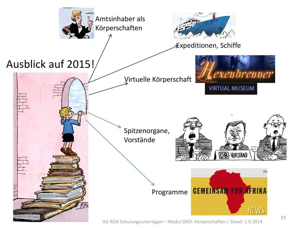 Ausblick auf 2015! Amtsinhaber als Körperschaften
