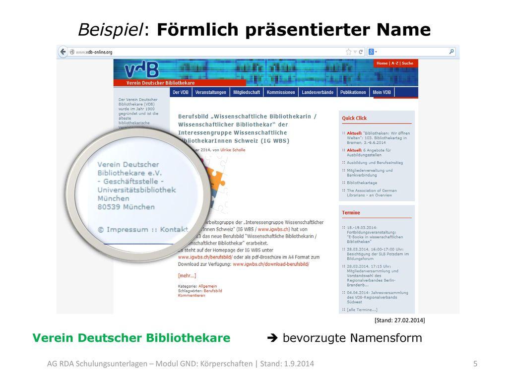 Beispiel: Förmlich präsentierter Name