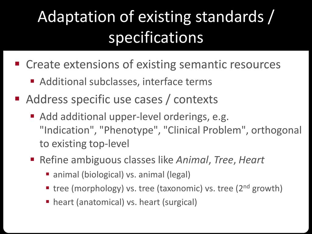 Adaptation of existing standards / specifications