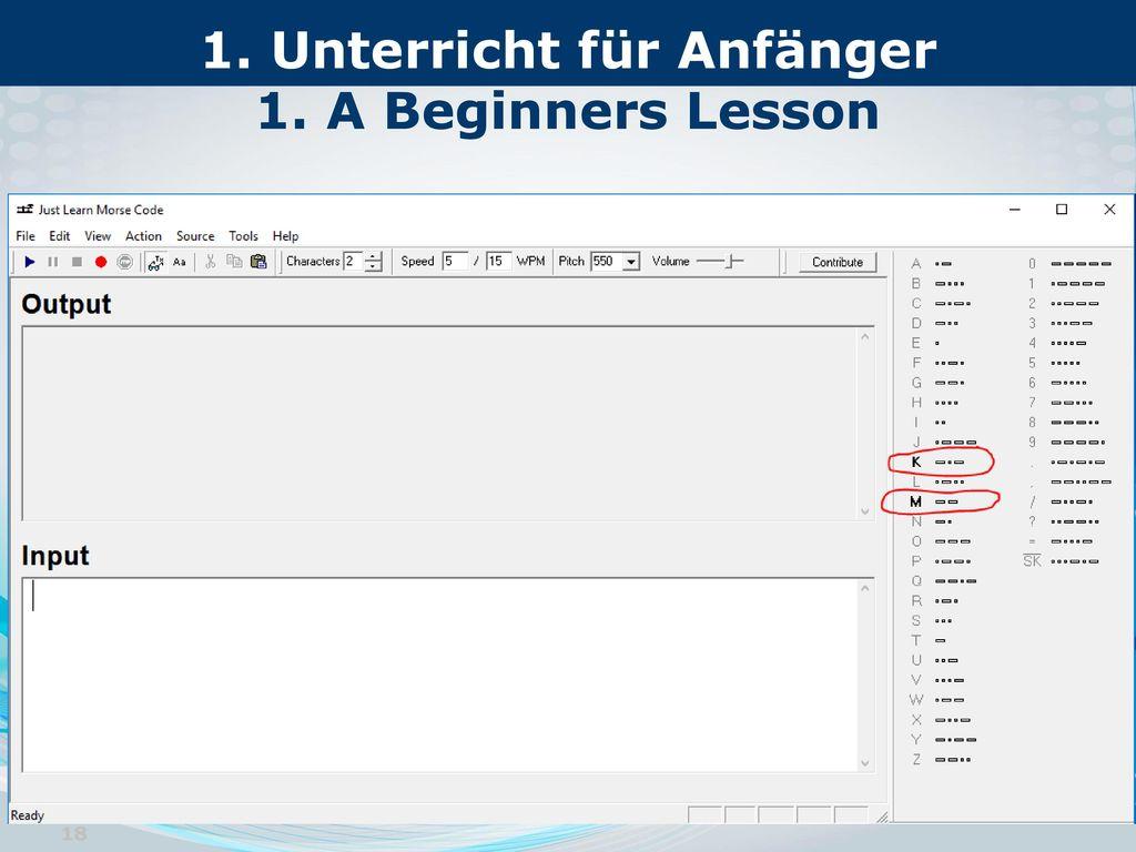 1. Unterricht für Anfänger 1. A Beginners Lesson