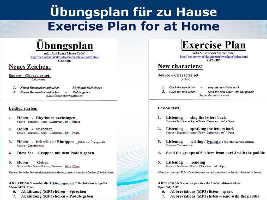 Übungsplan für zu Hause Exercise Plan for at Home