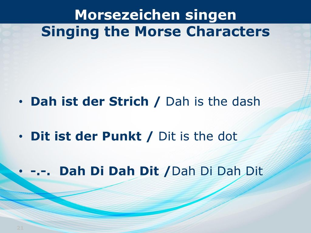 Morsezeichen singen Singing the Morse Characters