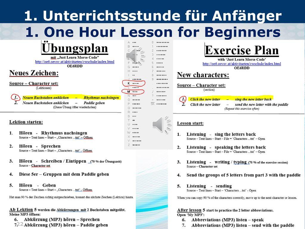 1. Unterrichtsstunde für Anfänger 1. One Hour Lesson for Beginners
