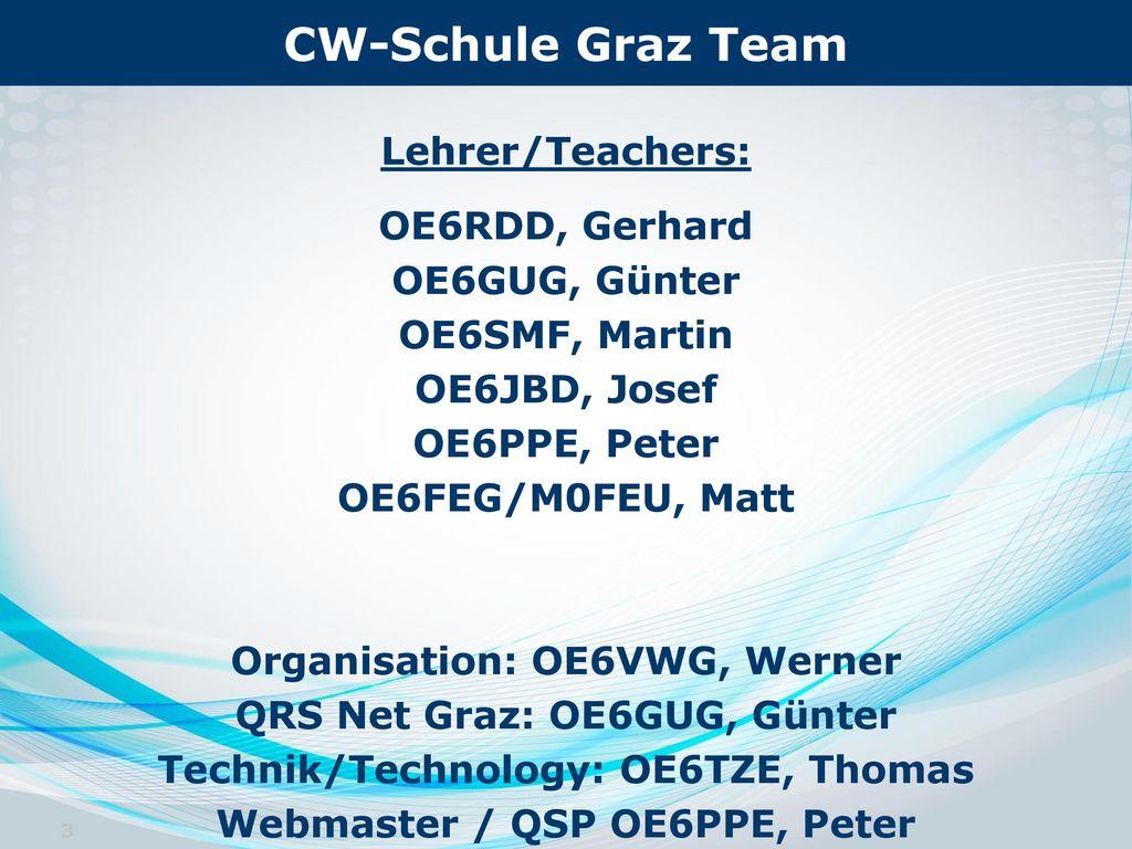 CW-Schule Graz Team Lehrer/Teachers: OE6RDD, Gerhard OE6GUG, Günter