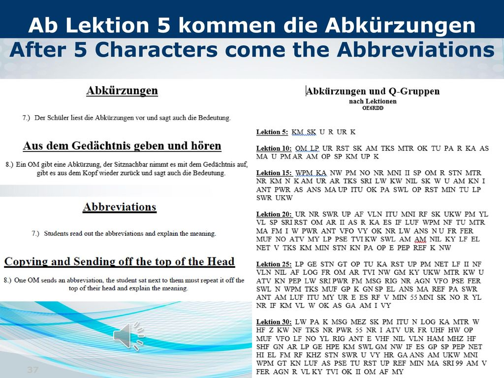 Ab Lektion 5 kommen die Abkürzungen After 5 Characters come the Abbreviations