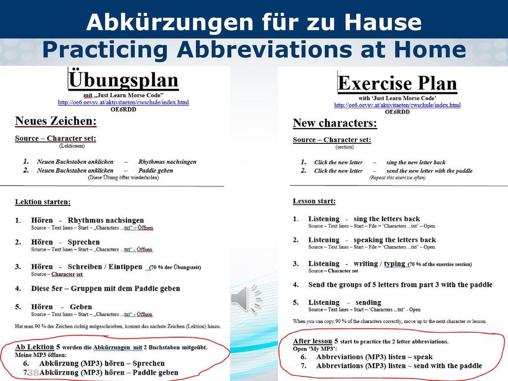 Abkürzungen für zu Hause Practicing Abbreviations at Home