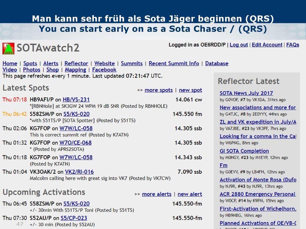 Man kann sehr früh als Sota Jäger beginnen (QRS) You can start early on as a Sota Chaser / (QRS)