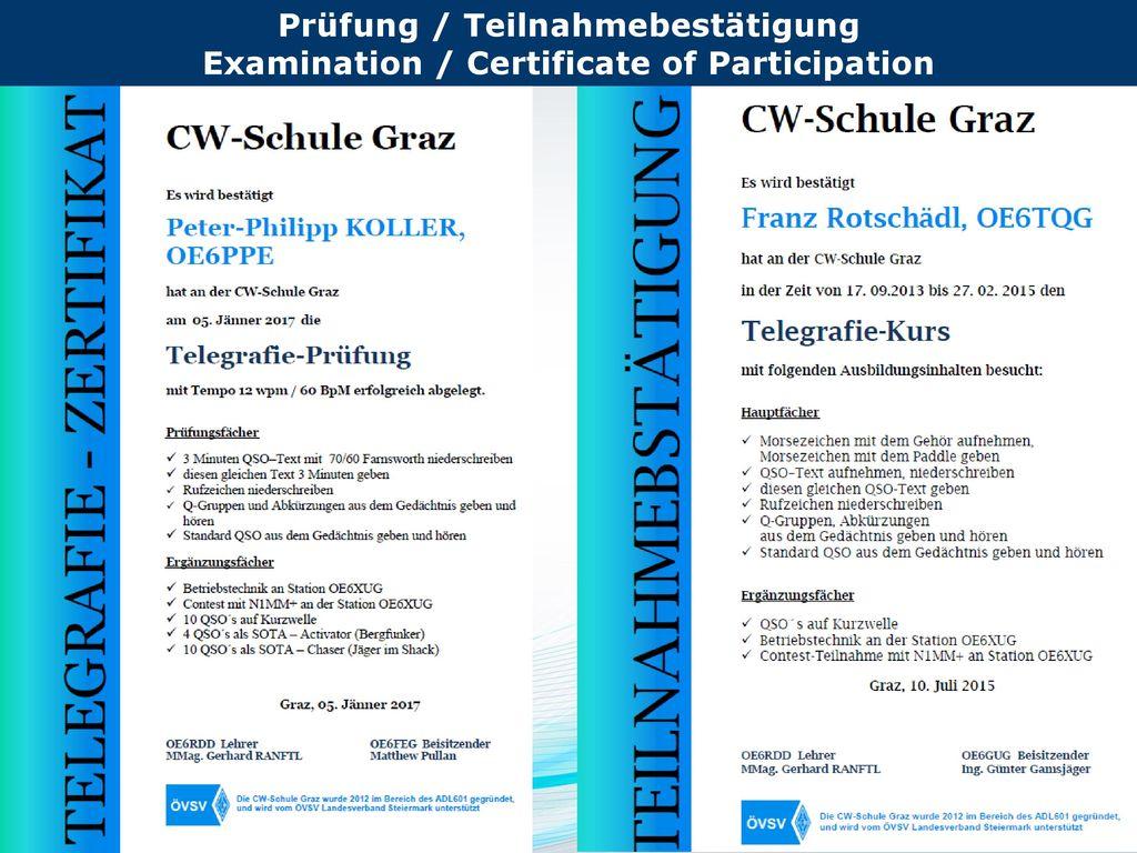 Prüfung / Teilnahmebestätigung Examination / Certificate of Participation