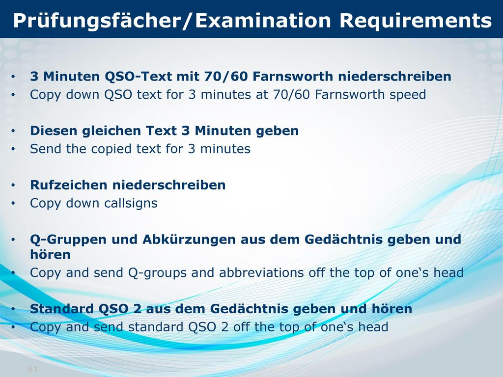 Prüfungsfächer/Examination Requirements