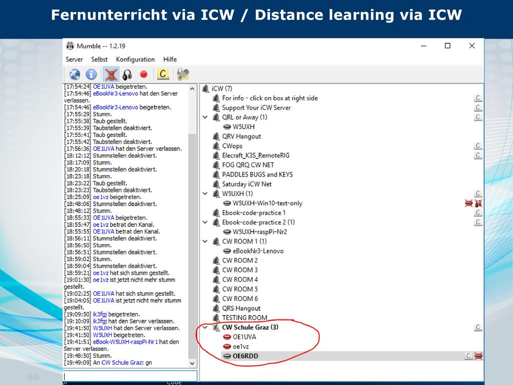 Fernunterricht via ICW / Distance learning via ICW
