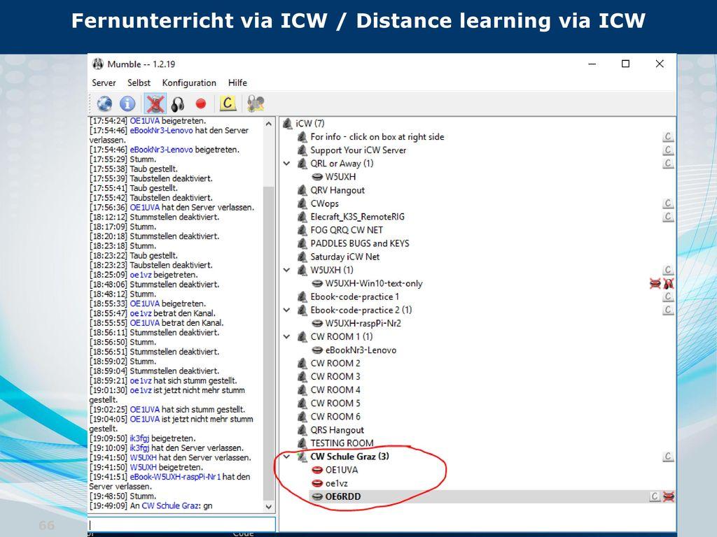 Fernunterricht via ICW / Distance learning via ICW