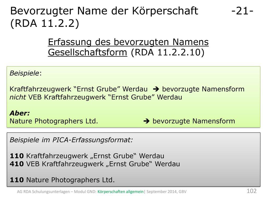 Bevorzugter Name der Körperschaft -21- (RDA 11.2.2)