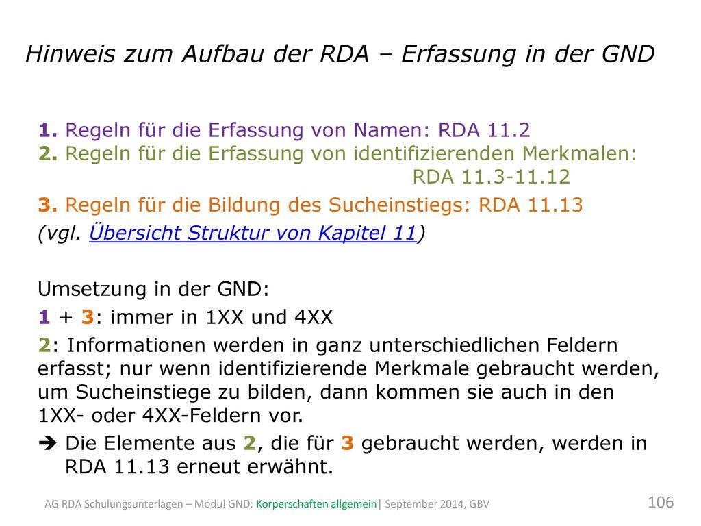 Hinweis zum Aufbau der RDA – Erfassung in der GND