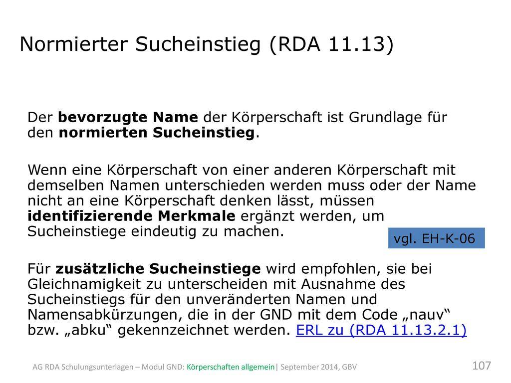 Normierter Sucheinstieg (RDA 11.13)