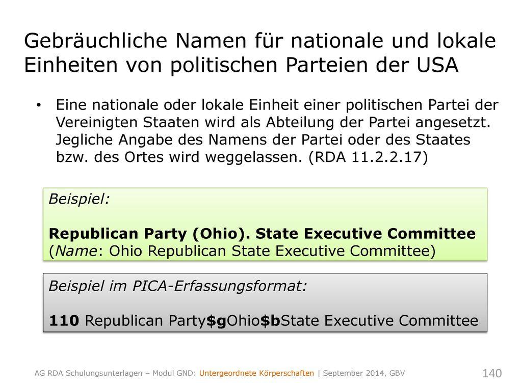 Gebräuchliche Namen für nationale und lokale Einheiten von politischen Parteien der USA