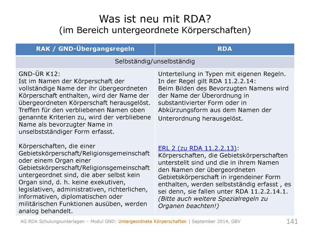 Was ist neu mit RDA (im Bereich untergeordnete Körperschaften)