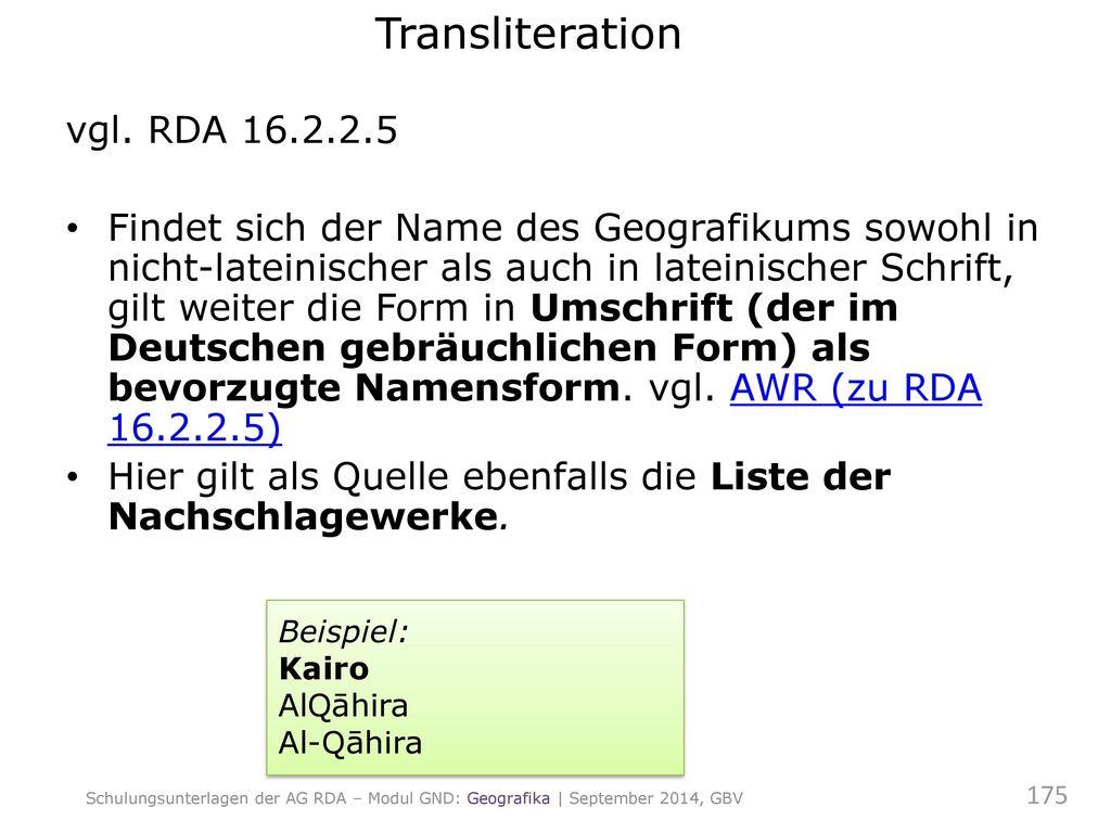 Transliteration vgl. RDA 16.2.2.5