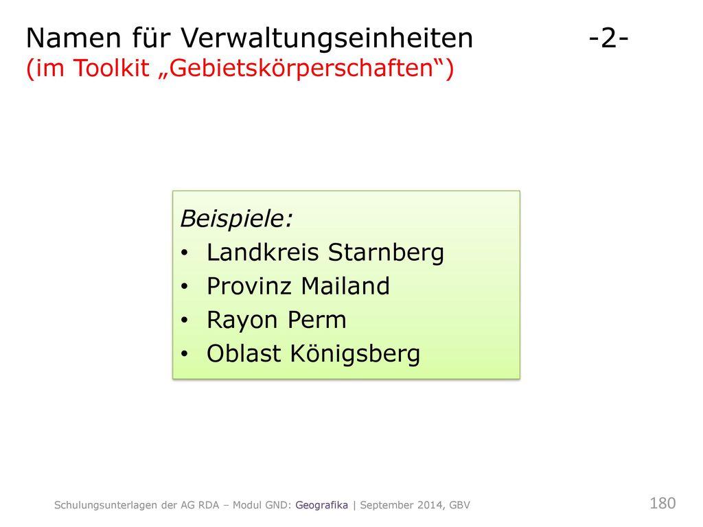 Namen für Verwaltungseinheiten -2-
