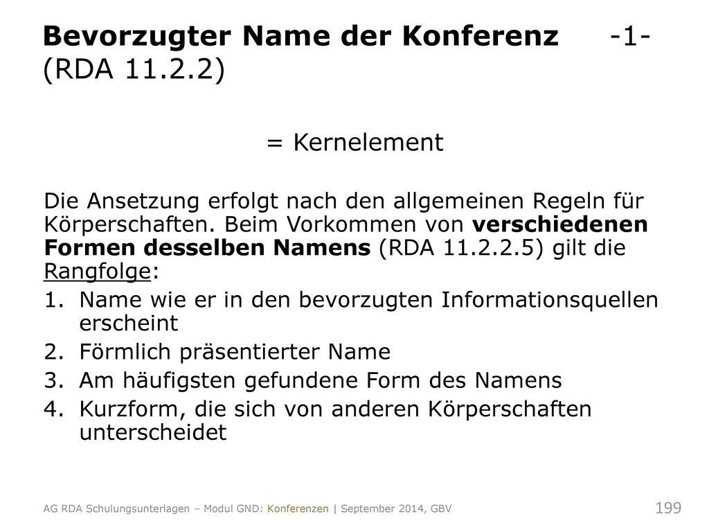 Bevorzugter Name der Konferenz -1- (RDA 11.2.2)
