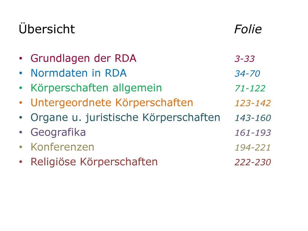 Übersicht Folie Grundlagen der RDA 3-33 Normdaten in RDA 34-70