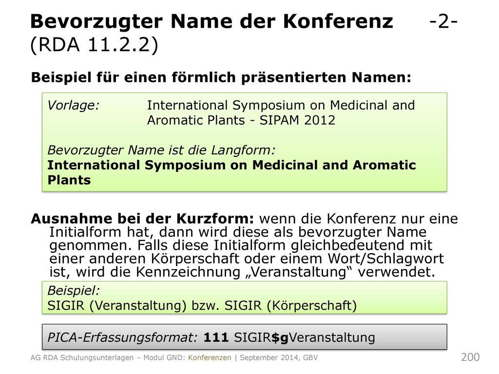 Bevorzugter Name der Konferenz -2- (RDA 11.2.2)