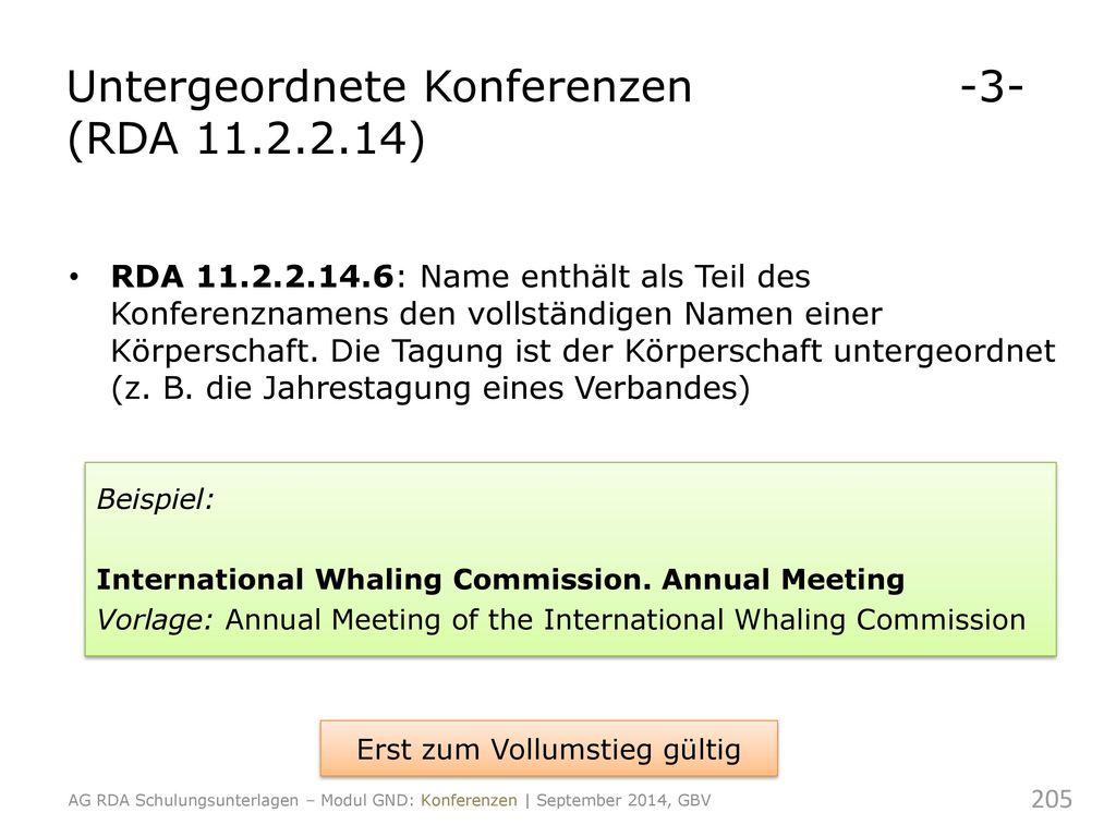 Untergeordnete Konferenzen -3- (RDA 11.2.2.14)