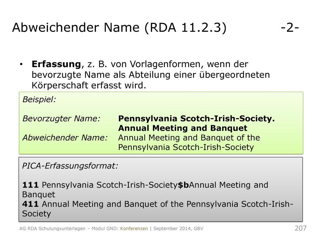 Abweichender Name (RDA 11.2.3) -2-