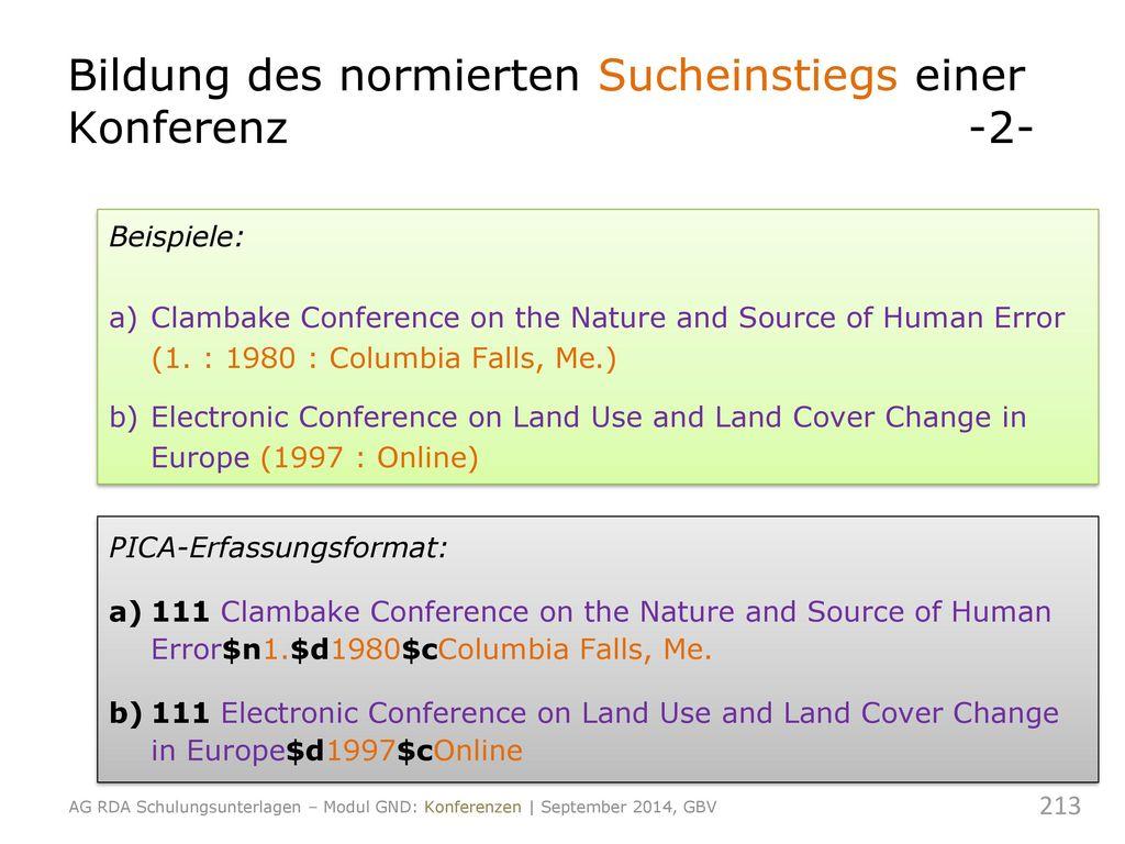 Bildung des normierten Sucheinstiegs einer Konferenz -2-